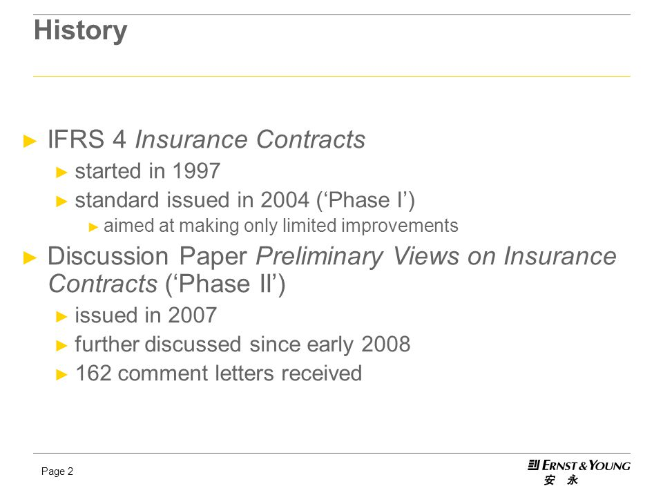 History IFRS 4 Insurance Contracts