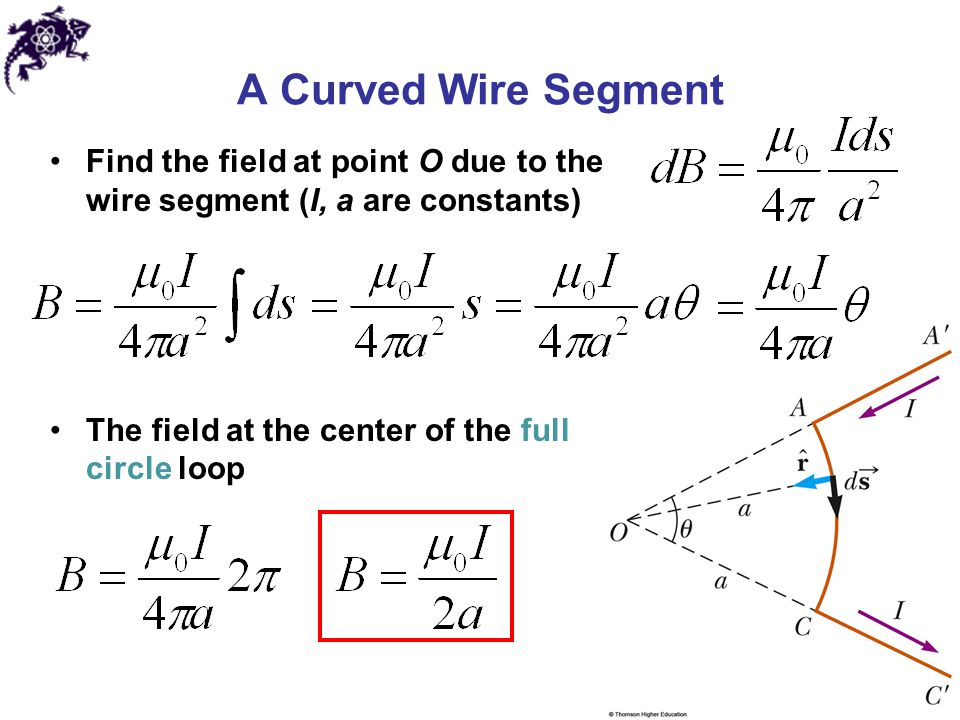 A Curved Wire Segment Find the field at point O due to the wire segment (I, a are constants) The field at the center of the full circle loop.
