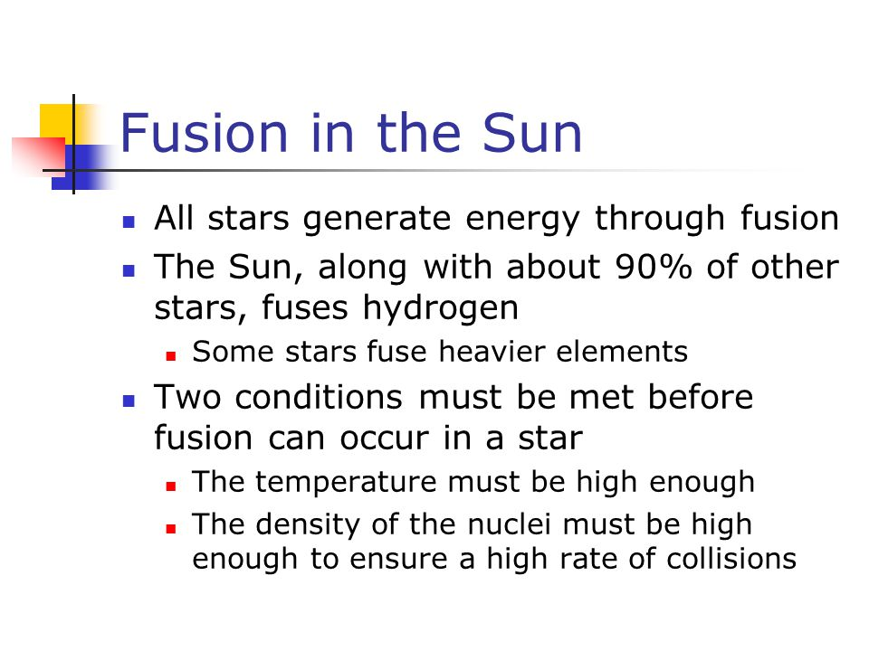 Fusion in the Sun All stars generate energy through fusion