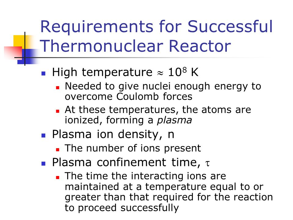 Requirements for Successful Thermonuclear Reactor
