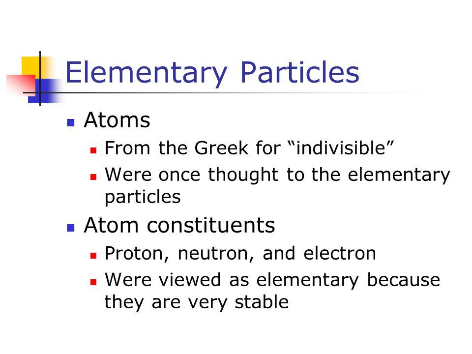 Elementary Particles Atoms Atom constituents