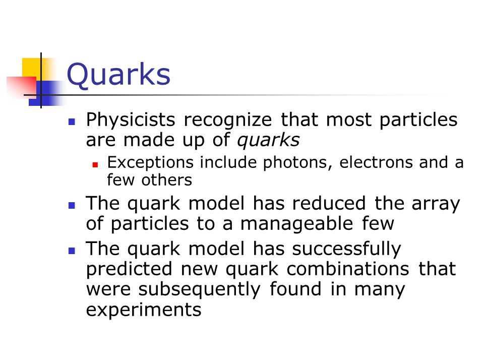 Quarks Physicists recognize that most particles are made up of quarks