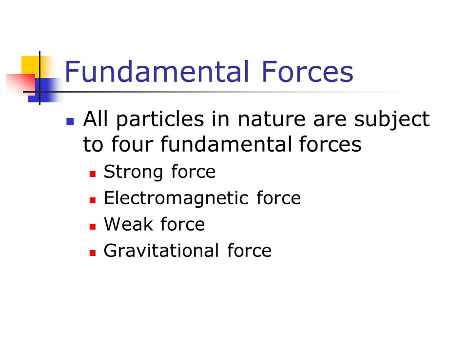 Fundamental Forces All particles in nature are subject to four fundamental forces. Strong force. Electromagnetic force.