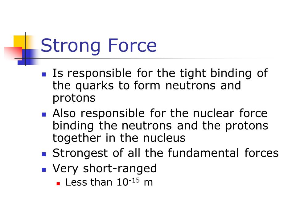 Strong Force Is responsible for the tight binding of the quarks to form neutrons and protons.