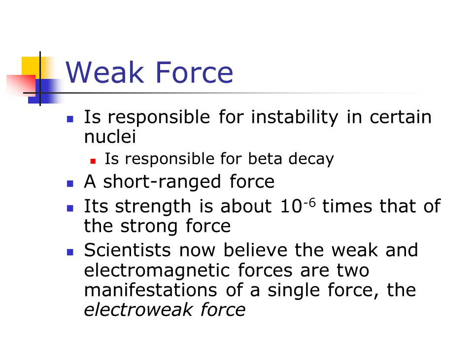 Weak Force Is responsible for instability in certain nuclei
