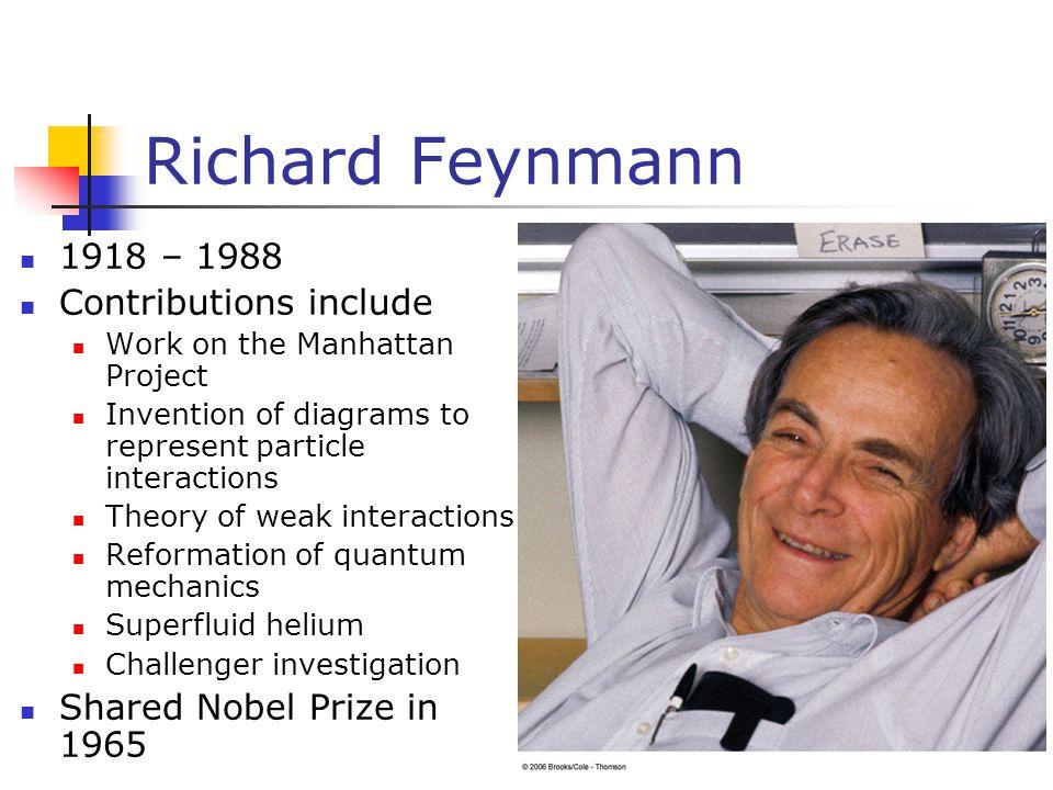 Richard Feynmann 1918 – 1988 Contributions include