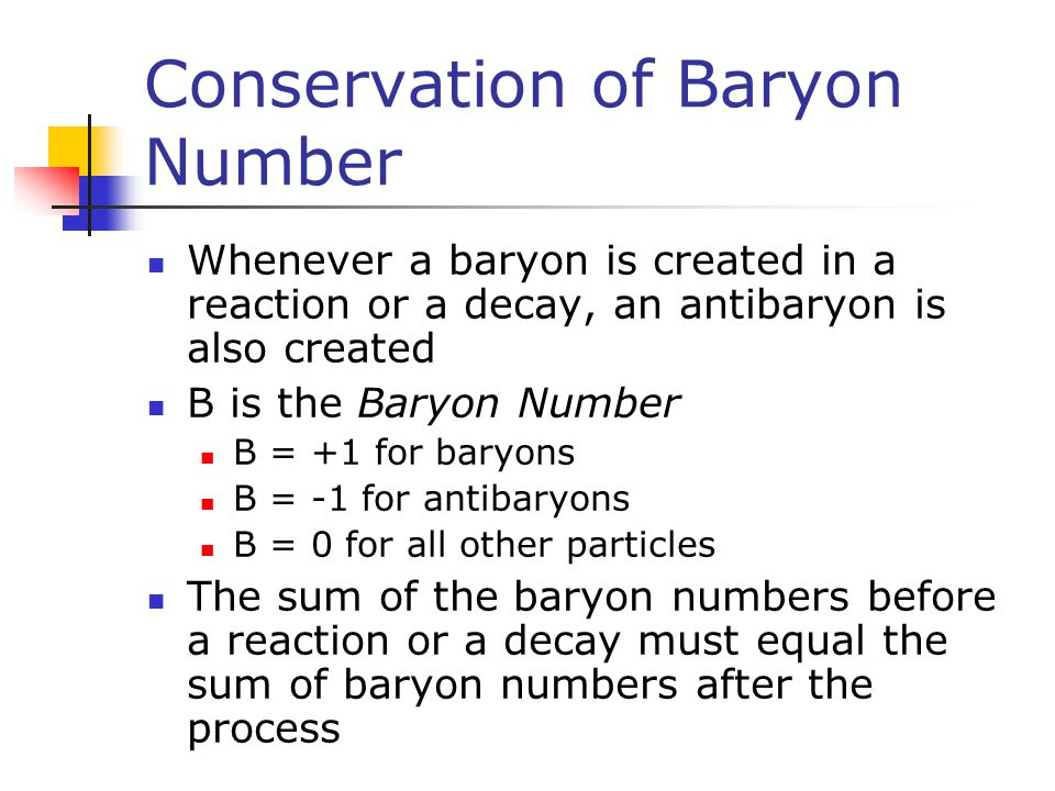 Conservation of Baryon Number