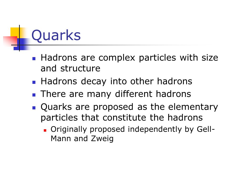 Quarks Hadrons are complex particles with size and structure