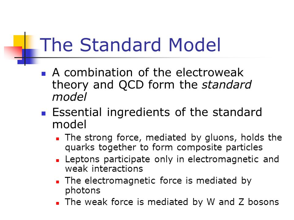 The Standard Model A combination of the electroweak theory and QCD form the standard model. Essential ingredients of the standard model.