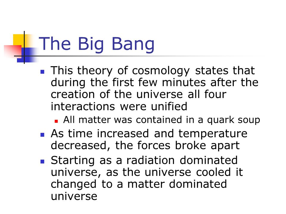 The Big Bang This theory of cosmology states that during the first few minutes after the creation of the universe all four interactions were unified.