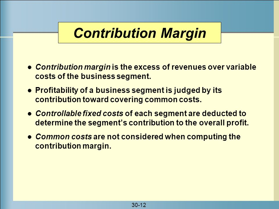 a computation of the revenue variable expense and contribution margin for each cruise In simplest terms, the contribution margin of an item is its price -- the revenue it generates -- minus its variable costs say you make t-shirts and sell them for $10 each shirt has $8 in variable costs associated with it, such as fabric and direct labor.