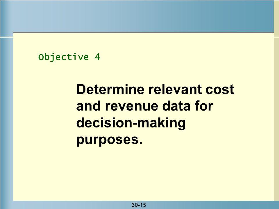 Determine relevant cost and revenue data for decision-making purposes.