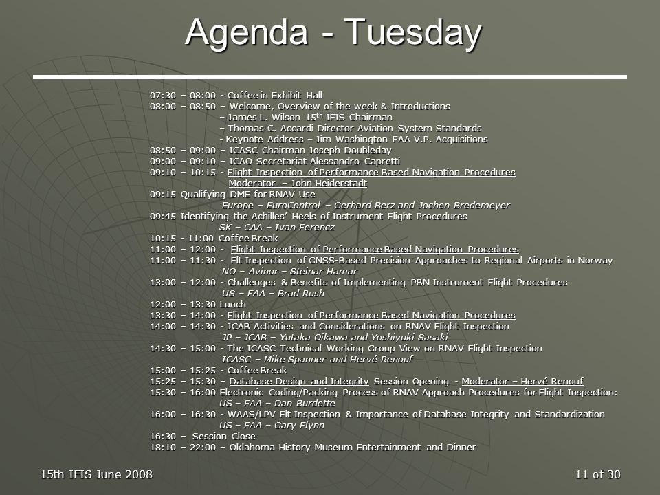 Agenda - Tuesday 15th IFIS June 2008