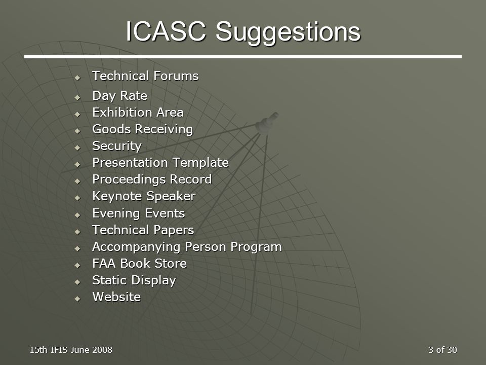 ICASC Suggestions Technical Forums Day Rate Exhibition Area