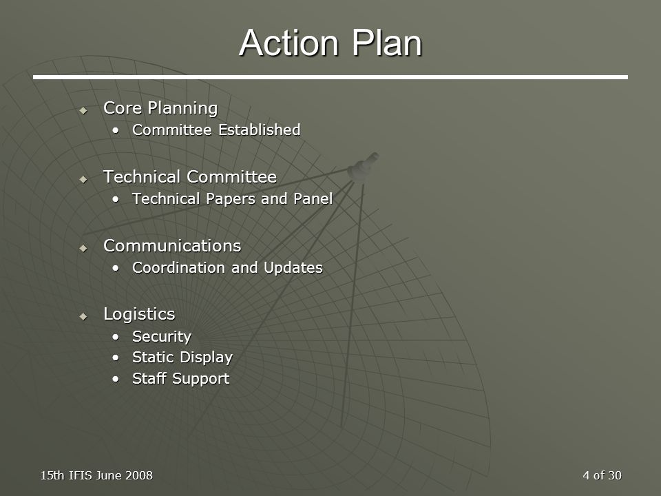 Action Plan Core Planning Technical Committee Communications Logistics