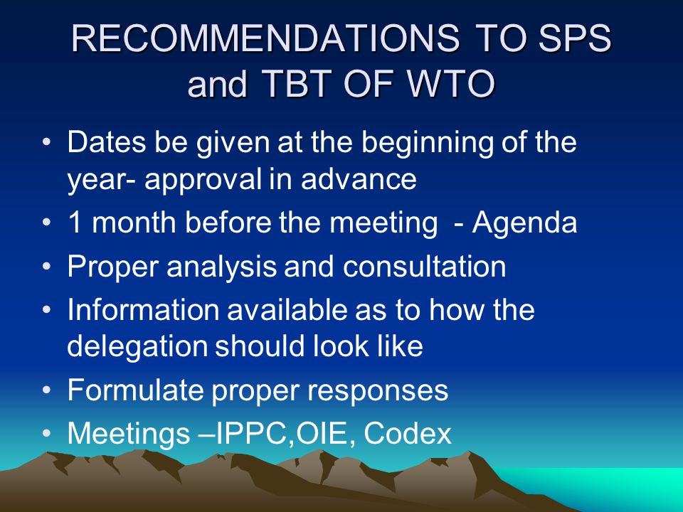 RECOMMENDATIONS TO SPS and TBT OF WTO