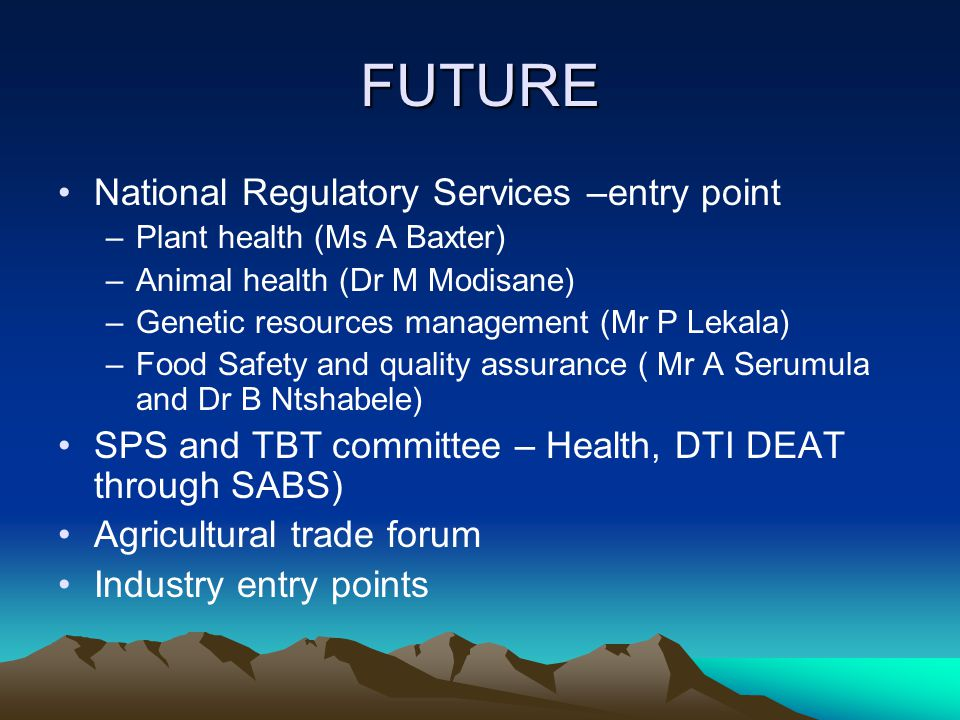 FUTURE National Regulatory Services –entry point