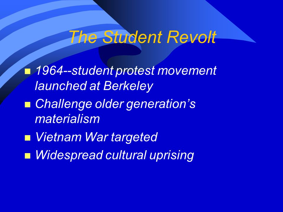 The Student Revolt 1964--student protest movement launched at Berkeley