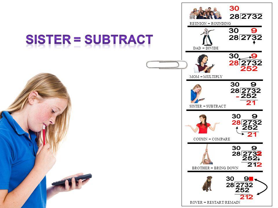 28 2732 30 9 252 21 2 Sister = subtract REUNION = ROUNDING