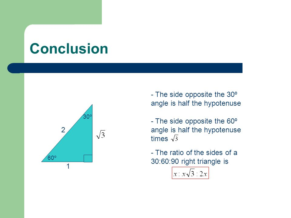 Conclusion - The side opposite the 30º angle is half the hypotenuse