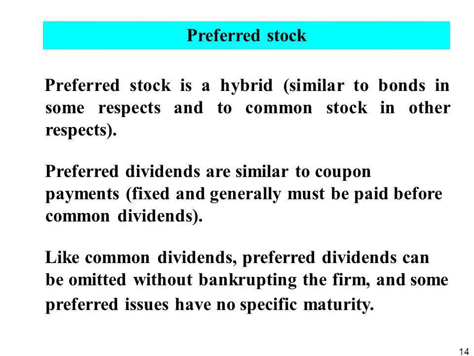 Preferred stock Preferred stock is a hybrid (similar to bonds in some respects and to common stock in other respects).