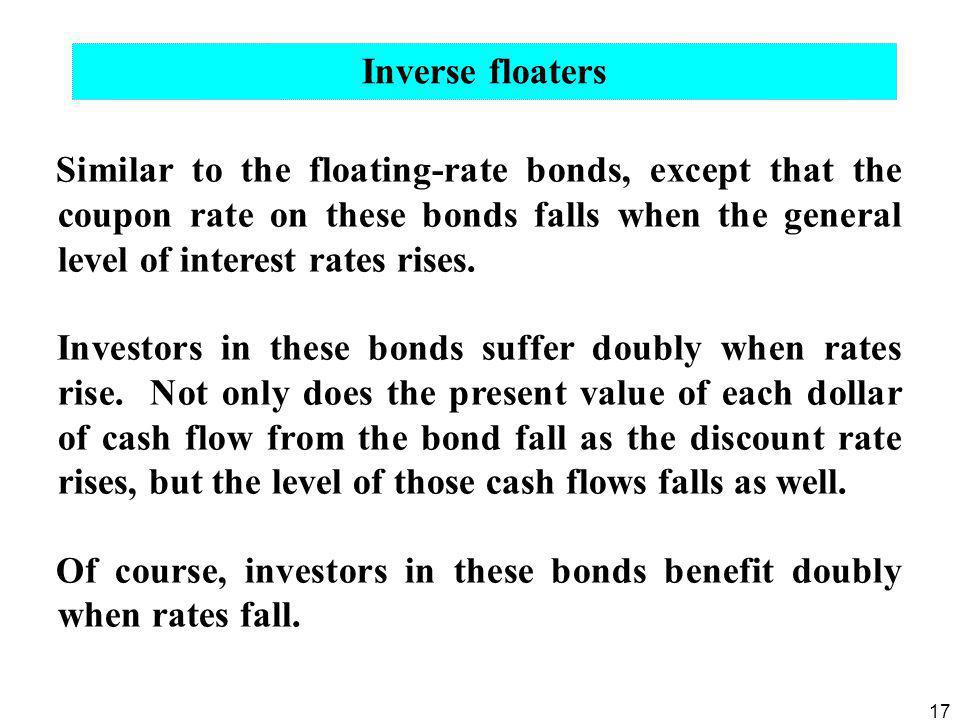 Inverse floaters Similar to the floating-rate bonds, except that the coupon rate on these bonds falls when the general level of interest rates rises.