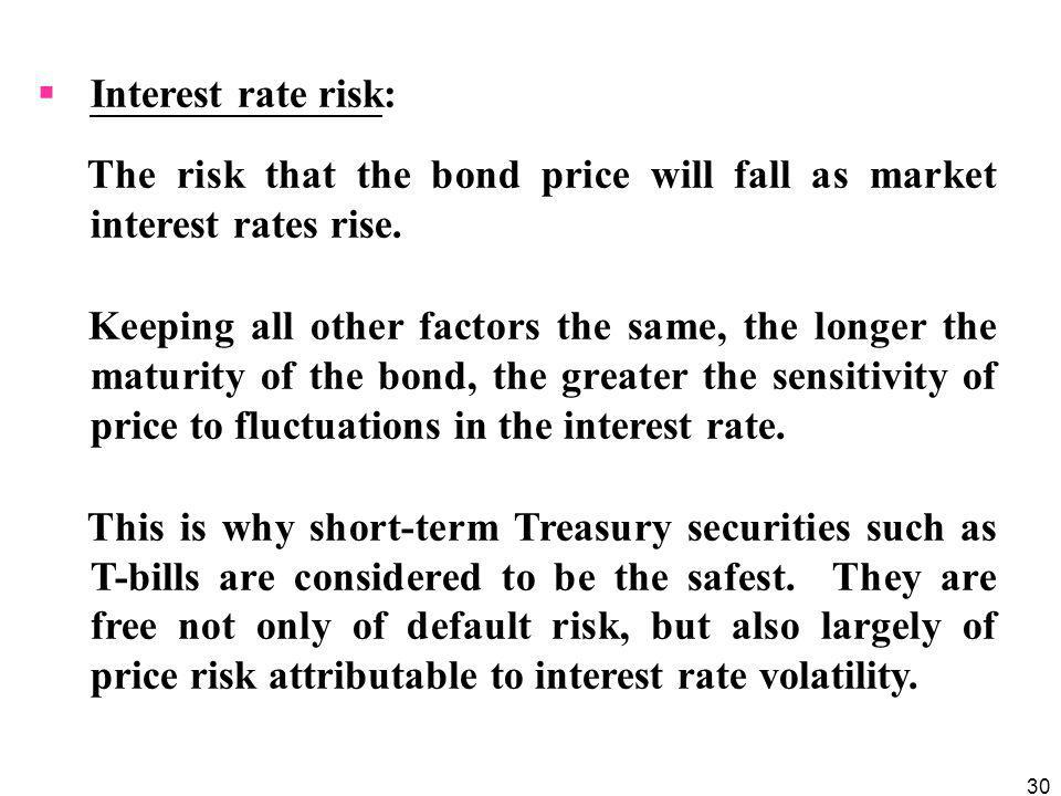 Interest rate risk: The risk that the bond price will fall as market interest rates rise.