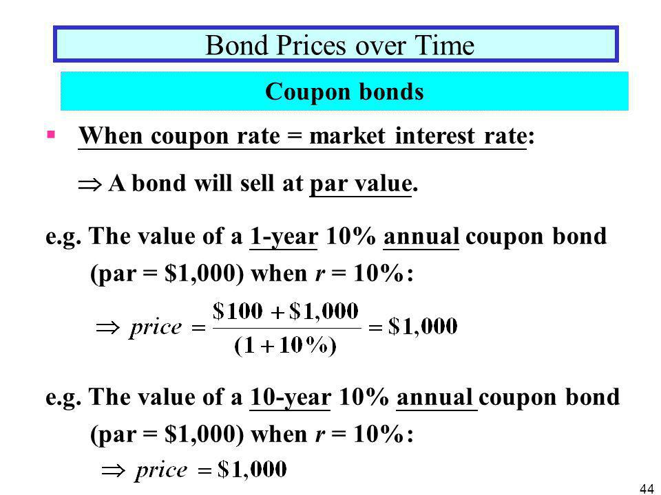 Bond Prices over Time Coupon bonds