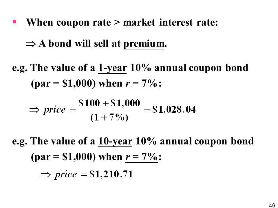 When coupon rate > market interest rate: