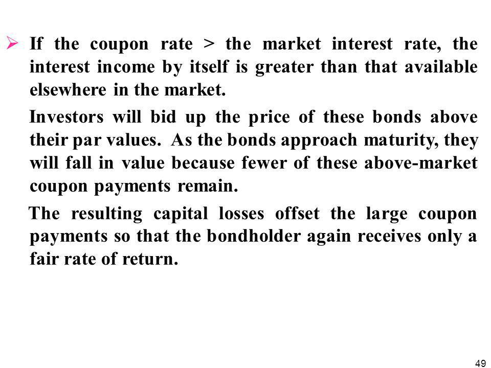 If the coupon rate > the market interest rate, the interest income by itself is greater than that available elsewhere in the market.