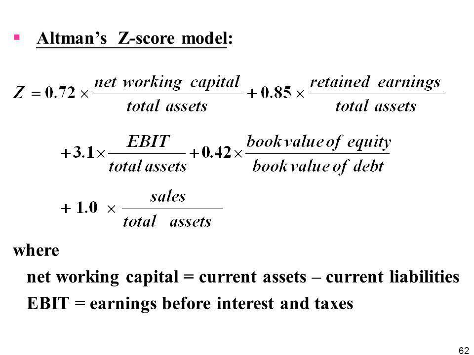 Altman's Z-score model: