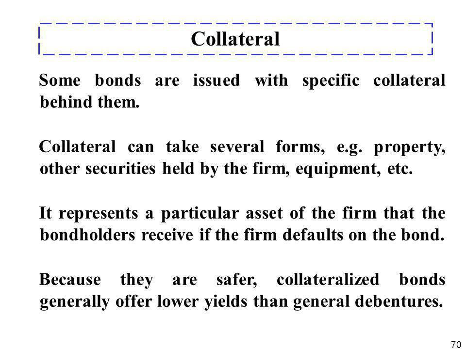 Collateral Some bonds are issued with specific collateral behind them.