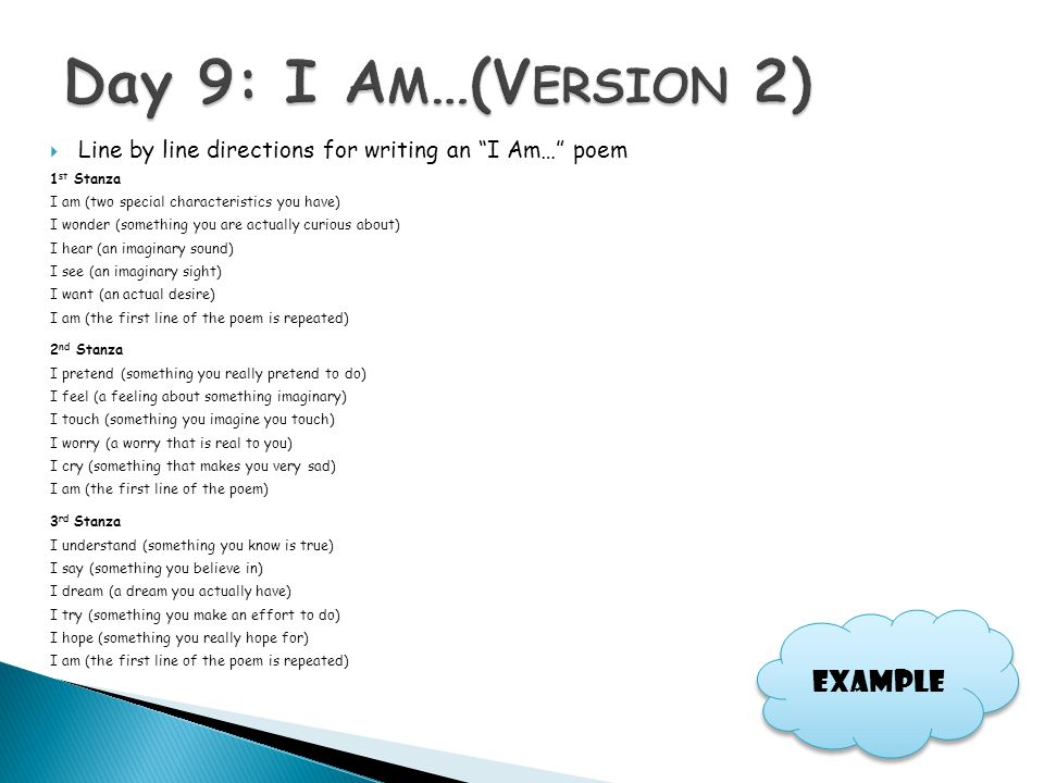 Day 9: I Am…(Version 2) Example