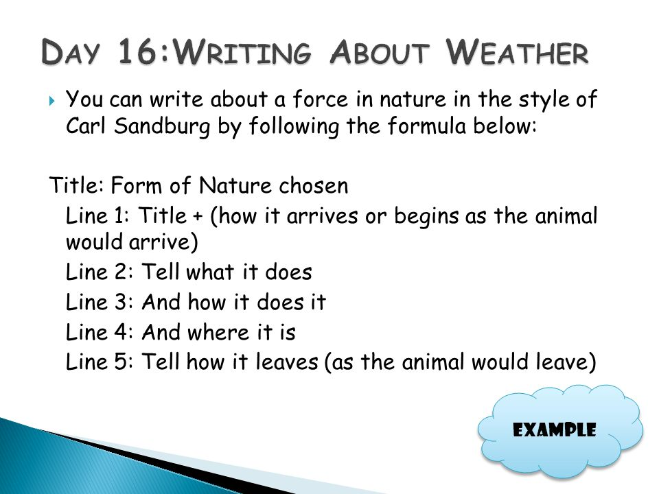 Day 16:Writing About Weather