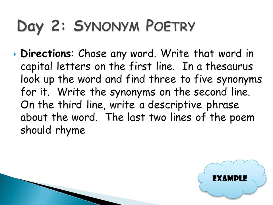 Day 2: Synonym Poetry