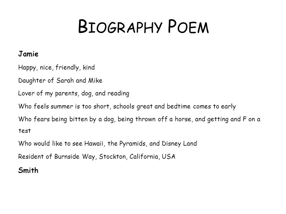 Biography Poem Jamie Smith Happy, nice, friendly, kind