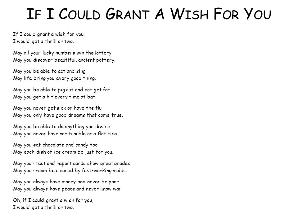 If I Could Grant A Wish For You