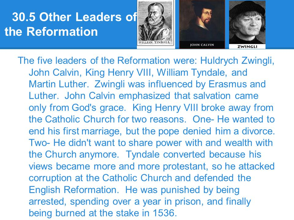 30.5 Other Leaders of the Reformation