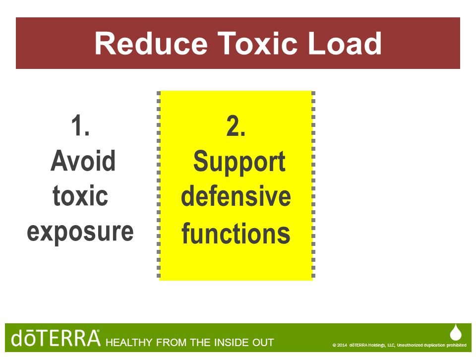 Reduce Toxic Load 1. 2. Avoid toxic exposure Support defensive