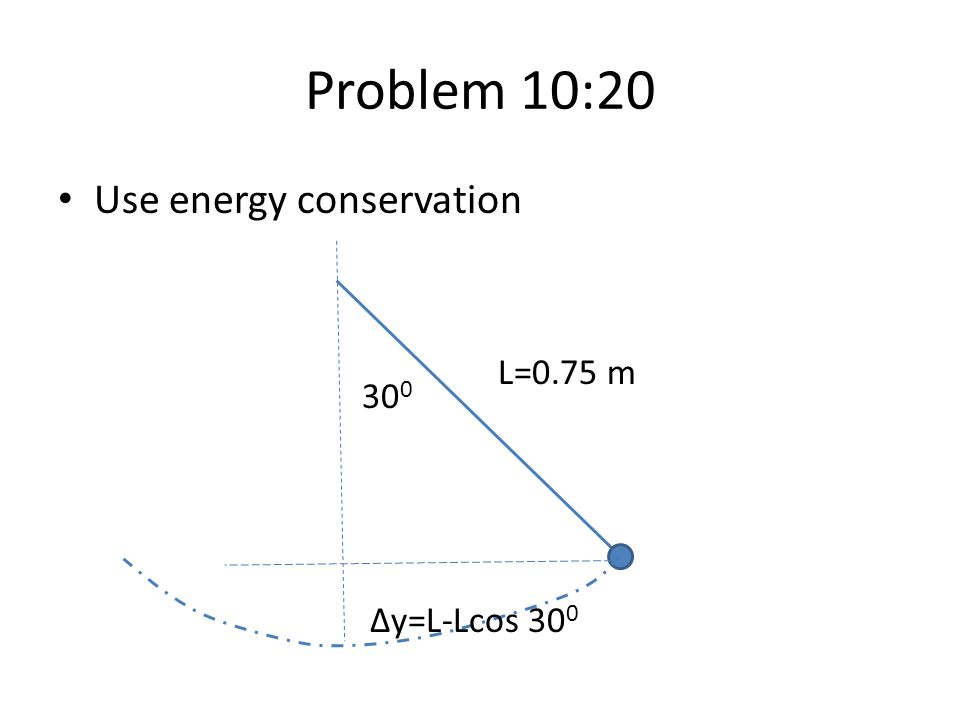 Problem 10:20 Use energy conservation L=0.75 m 300 Δy=L-Lcos 300