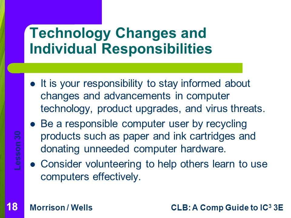 Technology Changes and Individual Responsibilities