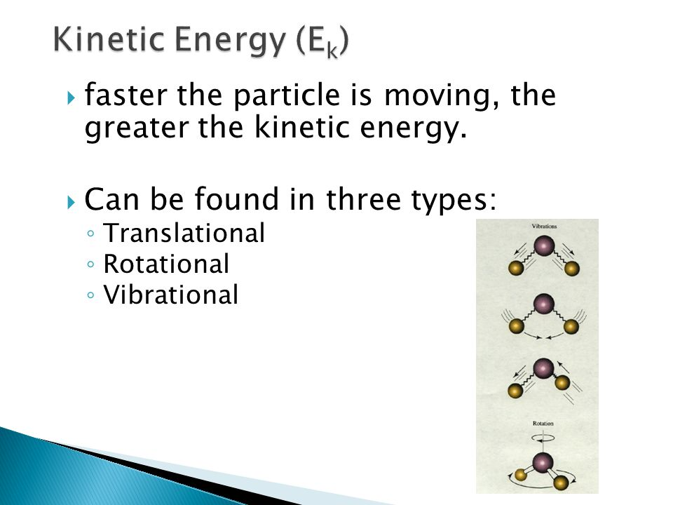 Kinetic Energy (Ek) faster the particle is moving, the greater the kinetic energy. Can be found in three types: