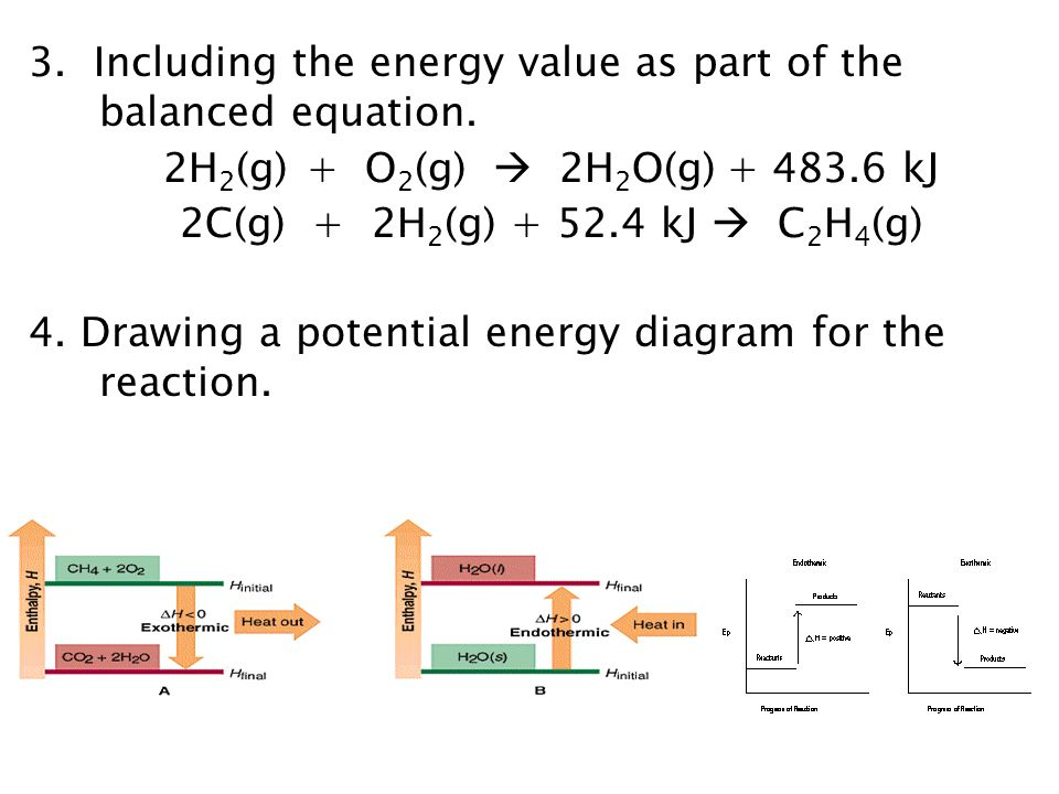 3. Including the energy value as part of the balanced equation.