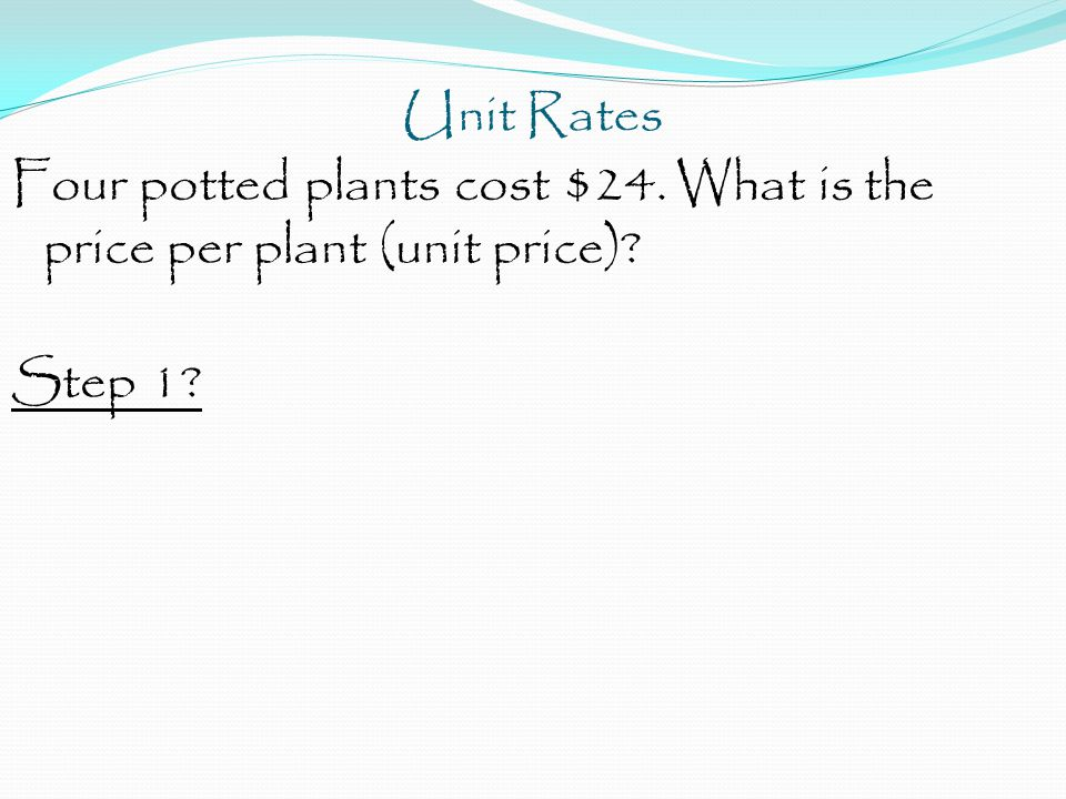 Unit Rates Four potted plants cost $24. What is the price per plant (unit price) Step 1