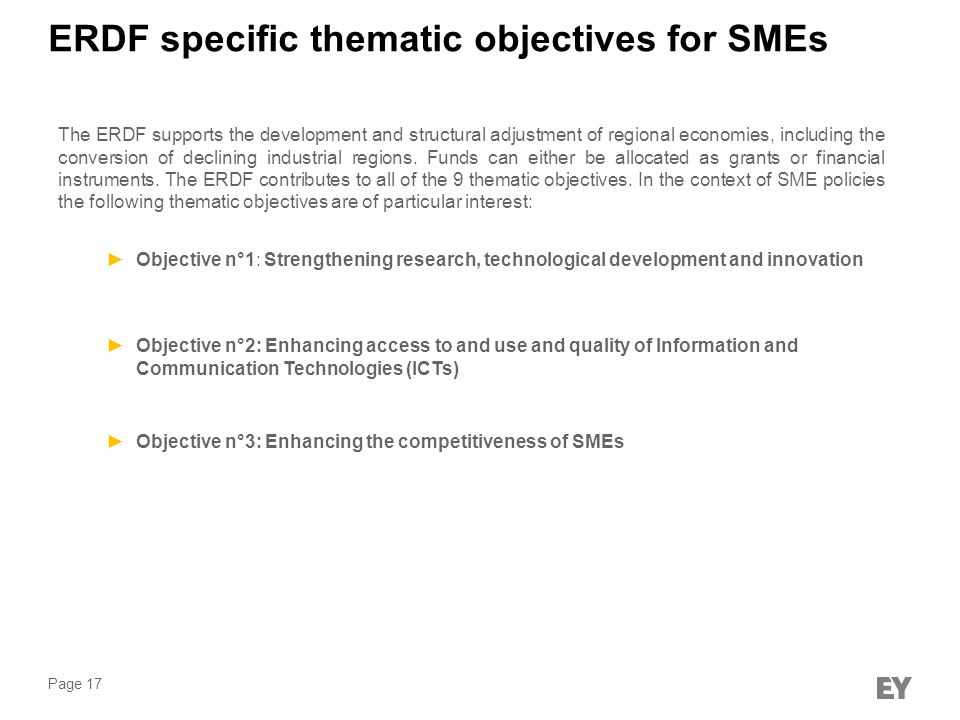 ERDF specific thematic objectives for SMEs