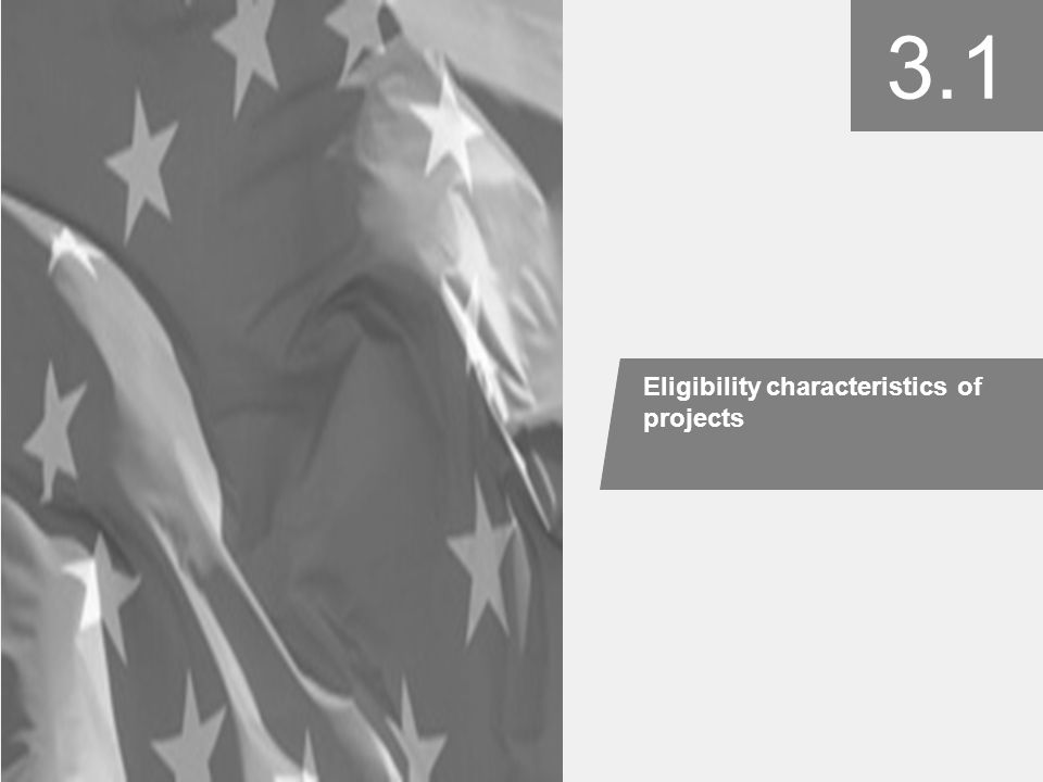 3.1 Eligibility characteristics of projects