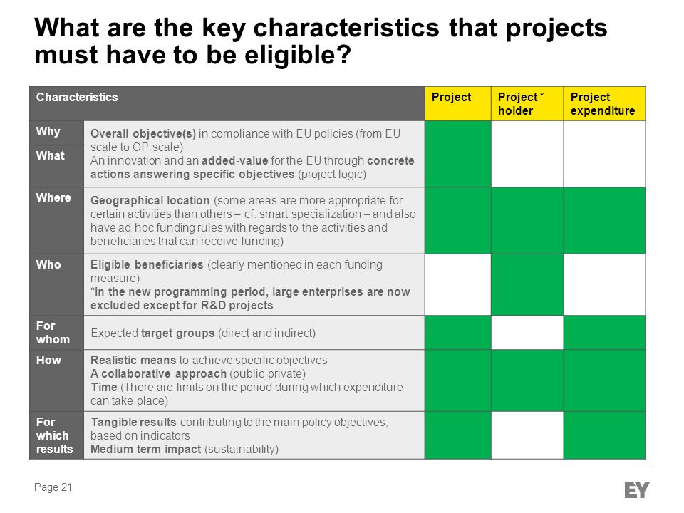 What are the key characteristics that projects must have to be eligible
