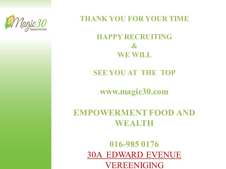EMPOWERMENT FOOD AND WEALTH