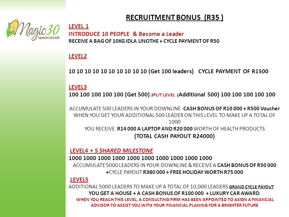 RECRUITMENT BONUS (R35 ) LEVEL 1 INTRODUCE 10 PEOPLE & Become a Leader