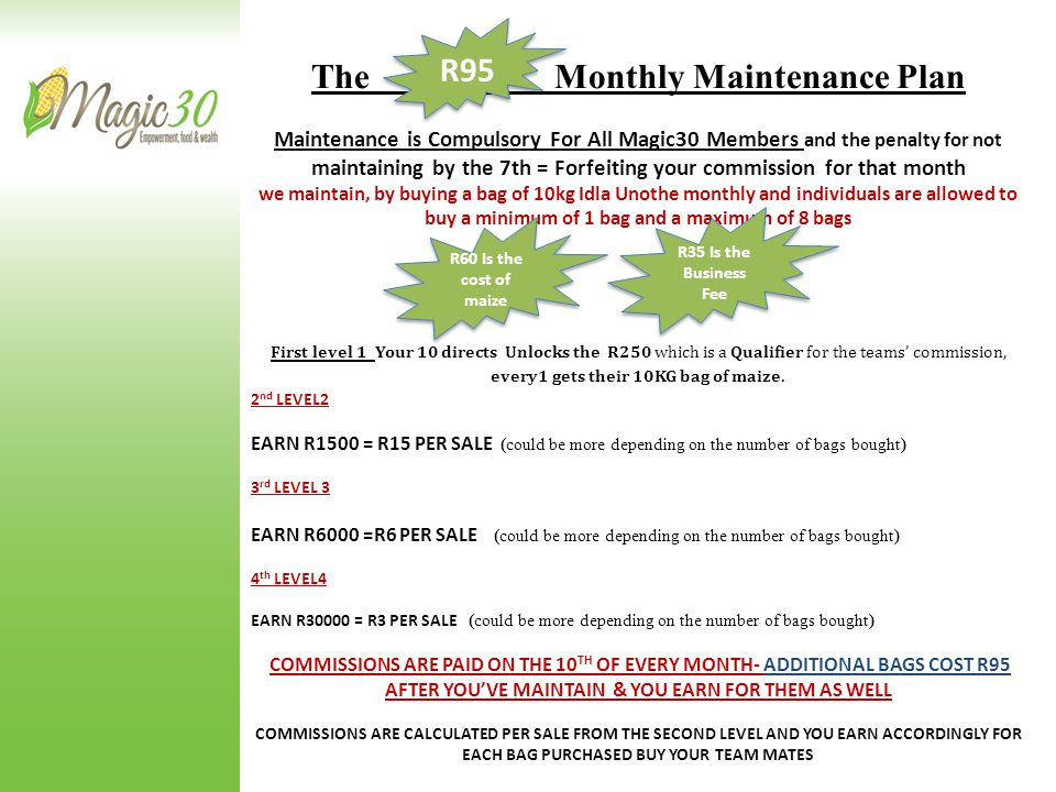 The Monthly Maintenance Plan